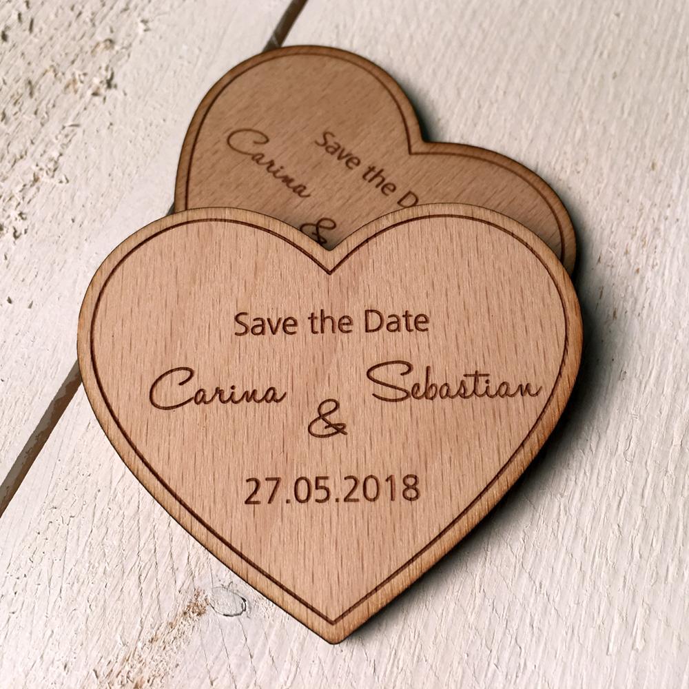 "Save the Date-Magnet ""Herz"" - Holz - Stückpreis ab 1,80 Euro - Big ..."