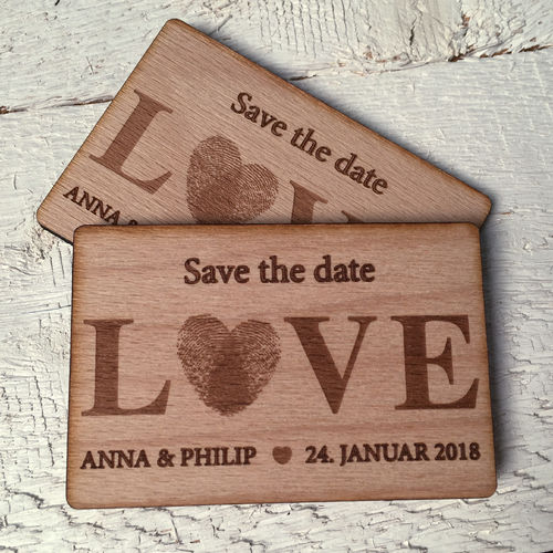"Save the Date-Magnet ""Love - Fingerabdruck"" - Holz - Stückpreis ab 1,80 Euro"